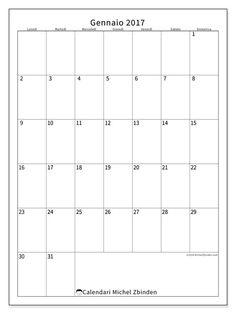 Gratis! Calendari per gennaio 2017 da stampare