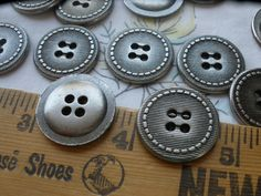 Antique Silver Textured Stitch blazer buttons Industrial 32L 20MM Pewter color 4 hole sew on retro steampunk 9 pieces vintage cool by kabooco on Etsy