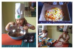Pizza making.... You can make chef hats by concertinaring paper and taping it onto a band of card to fit the head. Buy pizza base mixes from the shop which just needs water added to make a dough, open a jar of ragu to spread on the base & slice, chop & grate the toppings and place in bowls,.pop it on the table and let them get creative.. A great idea for a sleepover. You can ask pizza hut for a few empty boxes to make your pizza making session extra authentic & even make rice Krispy cakes…