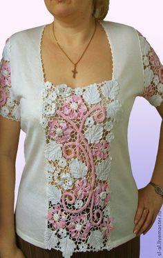Блуза `Улыбка` мод.№№522, 181. Блуза машинной вязки с элементами ручной в технике 'Ирландское…
