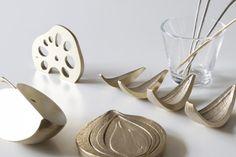 Accesorios de cocina creados de restos de comida del frigorífico, moldeados en cobre y diseñados por Kurasuhito Kurasutokoro y Yusuke Komatsu. #cobre #cocina