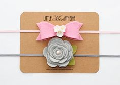 Pink and SIlver Gray Headband Sets // Wool Felt Fabric Flower // Felt Flower Headband //
