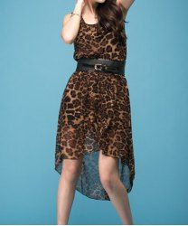 $8.65 Stylish Scoop Neck Irregular Leopard Print Chiffon Dress With A Belt For Women