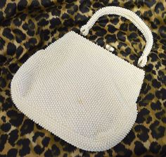 VINTAGE Purse Corde' Bead Lumured Ivory Beaded Mesh Handbag 50's GUC Wedding #Lumured #Vintage