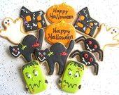 HALLOWEEN PARTY MIX - Halloween Cookies - Halloween Decorated Cookies - Halloween Cookie Favors -