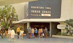 Rear cover of Disneyland postcard booklet showing the entrance to Adventure Thru Inner Space, ca. 1967.