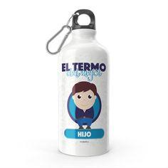 Termo - El termo del mejor hijo, encuentra este producto en nuestra tienda online y personalízalo con un nombre. Lemonade, Water Bottle, Drinks, Engineer, Carton Box, Sons, Training, Store, Creativity
