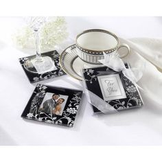 Black & White Glass Photo Coasters