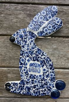 Blue and White Calico China Bunny British Wildlife, Bunnies, Creations, Arts And Crafts, Blue And White, Pottery, China, Dishes, Mom