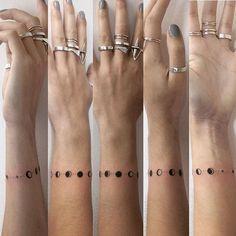 #handpoked lunar bracelet for the lovely @milliegracehorton