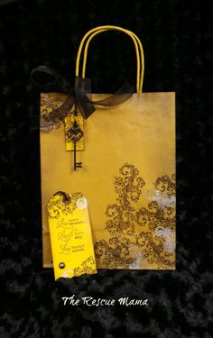 Gift Bag - Friendship, yellow, embossed, 8 x11, handmade Yellow Party Decorations, Friendship Gifts, Beautiful Birds, Cute Animals, Wraps, Presents, Reusable Tote Bags, Gift Wrapping, Fancy