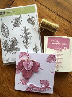 Super quick card using Stampin' Up! vintage leaves set.