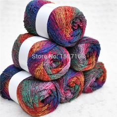 Rainbow Color Gradient Space Dye Silk Worsted Yarns/ Material: Silk 50% + Cotton 16% + Acrylic 17% + Viscose Fiber 17%/ Weight: 100g/ball