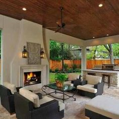 Fireplace and built-in barbeque/kitchen area