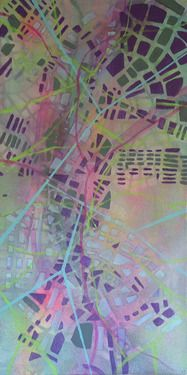 Reconnecting // Katharyna Ulriksen 2009 mixed media on canvas#painting #art #maps #cities #senseofplace #nonplace #travel #transit #temporary #locations