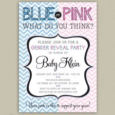 Blue or Pink - Chevron Printable Gender Reveal Party Invitation with Color Options. $16.00, via Etsy.