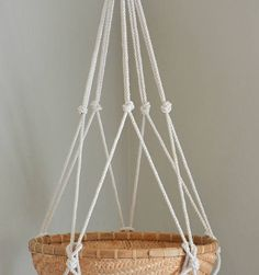 Macrame Plant Hanger/Fruit Hanger Carport Patio, Plant Hangers, Large Pots, Illustration, Cord, Arts And Crafts, Ribbon, Buttons, Ceiling Lights