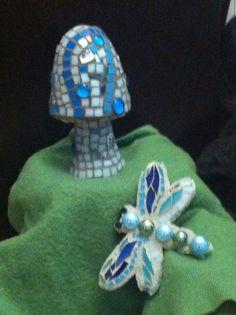 Mosaic Mushroom and dragonfly by Flower Floozy Designs