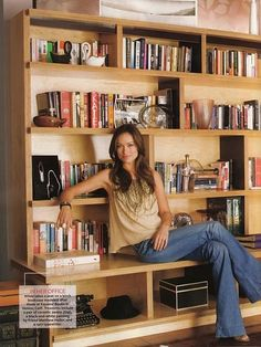 Olivia Wilde & her gorgeous modern bookcase. I've always loved this photo for some reason. Bookcase Wall, Modern Bookcase, Bookshelf Design, Bookshelves, Home Library Design, Small Space Interior Design, Library Ideas, Plywood Design, Muebles Living