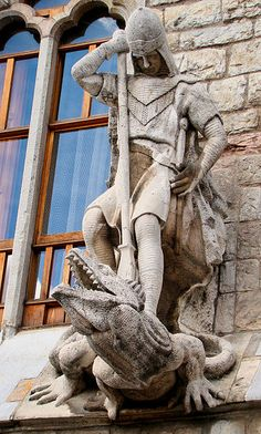 Detail above the entrance to Casa Botines by Gaudí, a sculpture of St George slaying the dragon. Leon, Spain by Bjørn Christian Tørrissen