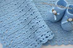 copertina a uncinetto per bimbo Crochet Baby Shawl, Crochet Bikini Pattern, Crochet Bebe, Crochet Blanket Patterns, Knit Crochet, Handmade Baby Blankets, Camilla, Projects To Try, Knitting
