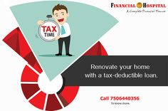 Did you know that the home loan taken for reconstruction and renovation is also eligible for tax deduction? Call on 7506440356 for more tips! Tax Deductions, Income Tax, A Team, Investing, Finance, How To Plan, Tips, Advice, Finance Books