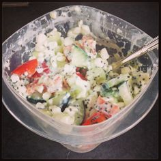 I love this healthy, clean eating snack! Cottage cheese, diced cucumber, red pepper, avocado, and chia seeds.