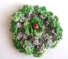 Flower Jewelry Pendant Crochet Green and by PhytoBeautyCosmetics