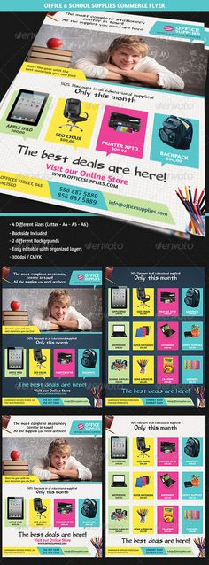 """Office & School Supplies Commerce Flyer  #GraphicRiver        Description Showcase your Office Stationery and School supplies with this professional commerce flyer. Perfect for """"Back to School"""" products advertisement campaigns. Increase your sales and clients showing them the special products in an creative way. It can be used by any Commerce and Sales Company or Services providers. Content – 2 Different Background  – Back Side Included – US Letter – A4 – A5 – A6 sizes included – 300dpi…"""