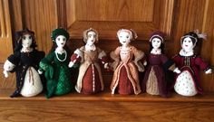 The Tudors are the latest in a countless series of dolls knitted by grandmother Denise Salway - AKA The Knitting Witch Wool Yarn, Knitting Yarn, Knitting Patterns, Knitting Ideas, Anne Of Cleves, Anne Boleyn, Catherine Of Aragon, Catherine Parr, Wolf Hall