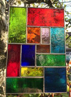 Multi Coloured Abstract Stained Glass Suncatcher Panel Handmade - designsinglass - CRhodesGlassArt by CRhodesGlassArt on Etsy https://www.etsy.com/listing/274900964/multi-coloured-abstract-stained-glass
