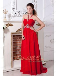 Red Empire Halter Prom Dress Brush Train Chiffon Beading- $154.29  http://www.fashionos.com   zipper up back prom dress   2013 popular prom dress for formal evening   high end low price   online store sell prom dress   online dress store   ruched floor length prom dress   beaded chiffon floor length prom dress   beaded chiffon prom dress   red floor length prom dress   red chiffon prom dress  