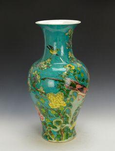 Big Chinese Qing Kangxi MK Famille Verte Figure Turquoise Ground Porcelain Vase | eBay