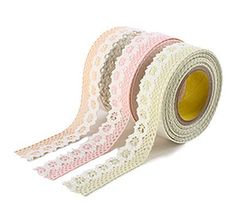 Flower Lace Fabric Deco Tape  Pastel Color 1 by WonderlandRoom