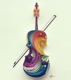 paper violin #paper #quilling #art