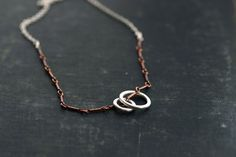 Sterling Rings on Copper and Sterling Chain by SDMarieJewelry