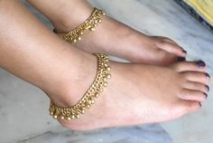 Baby Bell Anklets Children anklets Baby indian by IndiaTradition Sterling Silver Anklet, Gold Anklet, Silver Anklets, Ankle Jewelry, Feet Jewelry, Anklet Designs, Kids Jewelry, Jewelry Accessories, Anklet Bracelet