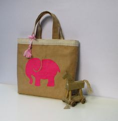 Handmade jute tote elegant bag appliqued with a pink by Apopsis