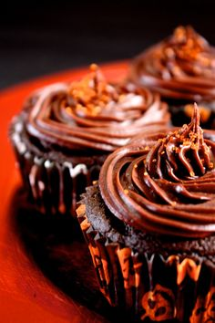 Peanut Butter Filled Chocolate Halloween Cupcakes with Chocolate Ganache Icing (GF)
