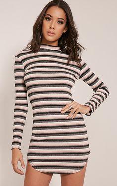 Chessia Dusty Pink Lurex Stripe Bodycon Dress