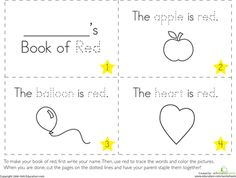 Worksheets: The Color Red perfect for working with preschoolers