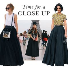Full skirts are the stars on the streets!
