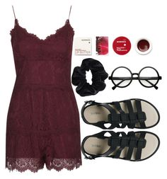 """""""warm red"""" by kianahall ❤ liked on Polyvore featuring Topshop, Korres, American Apparel and Melissa"""