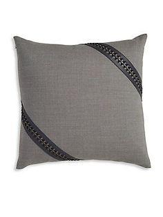 Rani Arabella Leather Braided Wool Blend Pillow - Grey