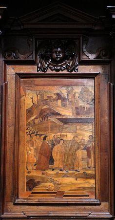 Fra Damiano Zambelli - processione - tarsie del coro - 1510-20 circa - Chiesa dei Santi Bartolomeo e Stefano - Bergamo (Italia)