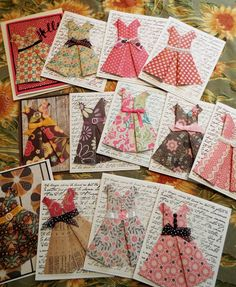 I recently watched a You Tube video on how to make an origami Paper dress, I thought these would make the sweetest card for all occasions! Fabric Cards, Paper Cards, Fun Fold Cards, Folded Cards, Origami Vestidos, Origami Paper, Origami Dress, Diy Origami Cards, Origami Boxes