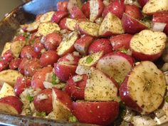 soo delicious!!!! roasted small red potatoes its quick & easy. all you need is: small Red potatoes (cut into halfs) olive oil (drizzled over potatoes) salt, pepper, italian seasoning & garlic powder.