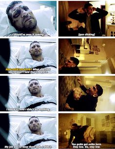 """""""I should've seen it coming. I heard it... and I didn't do anything. My job was to keep them safe. I didn't"""" - Frank and Karen #Daredevil"""