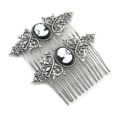 Gothic Lolita Jewelry - Neo Victorian Cameo Hair Combs | Ghostlove Jewelry