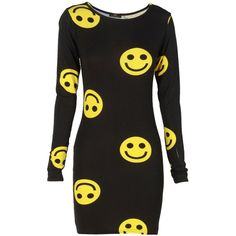 Smiley Faces Long Sleeve Black Dress ($17) ❤ liked on Polyvore featuring dresses, long sleeve dress and longsleeve dress